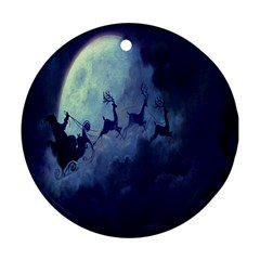 Santa Claus Christmas Night Moon Happy Fly Round Ornament (two Sides)