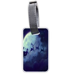 Santa Claus Christmas Night Moon Happy Fly Luggage Tags (one Side)