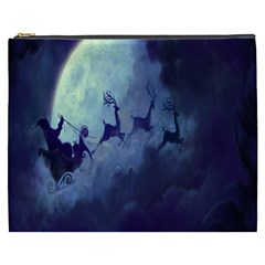 Santa Claus Christmas Night Moon Happy Fly Cosmetic Bag (xxxl)