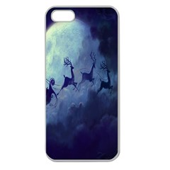 Santa Claus Christmas Night Moon Happy Fly Apple Seamless Iphone 5 Case (clear)