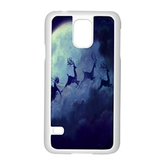 Santa Claus Christmas Night Moon Happy Fly Samsung Galaxy S5 Case (white)