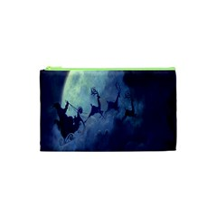 Santa Claus Christmas Night Moon Happy Fly Cosmetic Bag (xs)