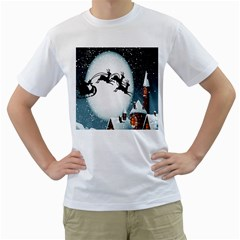 Santa Claus Christmas Snow Cool Night Moon Sky Men s T Shirt (white) (two Sided)