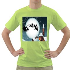 Santa Claus Christmas Snow Cool Night Moon Sky Green T Shirt by Alisyart