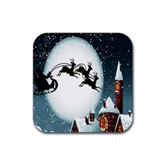 Santa Claus Christmas Snow Cool Night Moon Sky Rubber Square Coaster (4 Pack)  by Alisyart