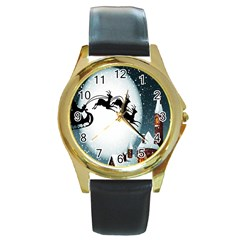 Santa Claus Christmas Snow Cool Night Moon Sky Round Gold Metal Watch