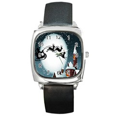 Santa Claus Christmas Snow Cool Night Moon Sky Square Metal Watch by Alisyart