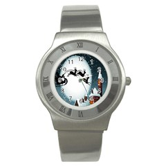 Santa Claus Christmas Snow Cool Night Moon Sky Stainless Steel Watch by Alisyart