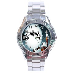 Santa Claus Christmas Snow Cool Night Moon Sky Stainless Steel Analogue Watch