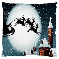 Santa Claus Christmas Snow Cool Night Moon Sky Large Cushion Case (two Sides)