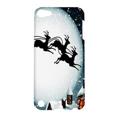 Santa Claus Christmas Snow Cool Night Moon Sky Apple Ipod Touch 5 Hardshell Case by Alisyart