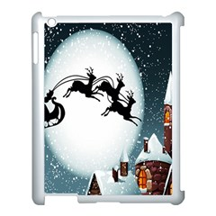 Santa Claus Christmas Snow Cool Night Moon Sky Apple Ipad 3/4 Case (white)