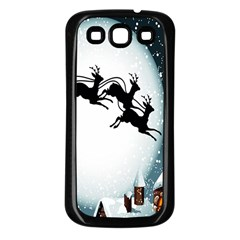 Santa Claus Christmas Snow Cool Night Moon Sky Samsung Galaxy S3 Back Case (black)