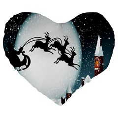 Santa Claus Christmas Snow Cool Night Moon Sky Large 19  Premium Flano Heart Shape Cushions by Alisyart