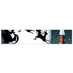 Santa Claus Christmas Snow Cool Night Moon Sky Small Flano Scarf