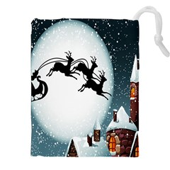 Santa Claus Christmas Snow Cool Night Moon Sky Drawstring Pouches (xxl) by Alisyart