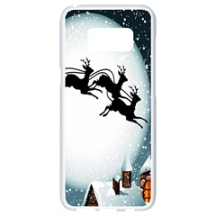 Santa Claus Christmas Snow Cool Night Moon Sky Samsung Galaxy S8 White Seamless Case by Alisyart