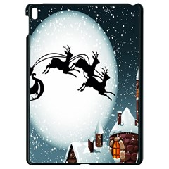 Santa Claus Christmas Snow Cool Night Moon Sky Apple Ipad Pro 9 7   Black Seamless Case