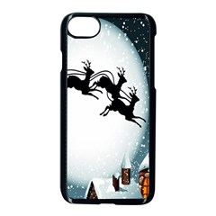 Santa Claus Christmas Snow Cool Night Moon Sky Apple Iphone 8 Seamless Case (black) by Alisyart