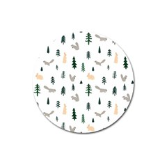 Squirrel Rabbit Tree Animals Snow Magnet 3  (round) by Alisyart