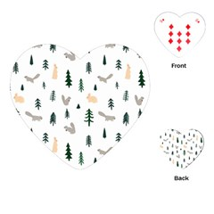 Squirrel Rabbit Tree Animals Snow Playing Cards (heart)  by Alisyart
