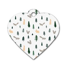 Squirrel Rabbit Tree Animals Snow Dog Tag Heart (one Side)