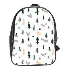 Squirrel Rabbit Tree Animals Snow School Bag (large)
