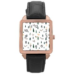 Squirrel Rabbit Tree Animals Snow Rose Gold Leather Watch