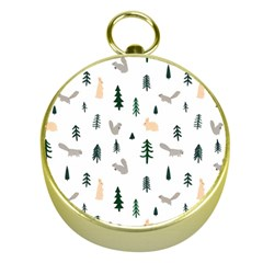 Squirrel Rabbit Tree Animals Snow Gold Compasses