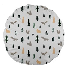 Squirrel Rabbit Tree Animals Snow Large 18  Premium Flano Round Cushions