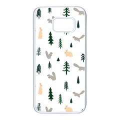 Squirrel Rabbit Tree Animals Snow Samsung Galaxy S7 White Seamless Case by Alisyart
