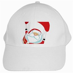 Skydiving Christmas Santa Claus White Cap