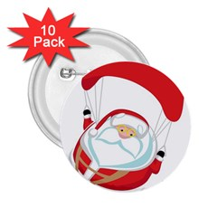 Skydiving Christmas Santa Claus 2 25  Buttons (10 Pack)  by Alisyart