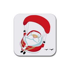Skydiving Christmas Santa Claus Rubber Coaster (square)  by Alisyart