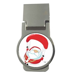 Skydiving Christmas Santa Claus Money Clips (round)  by Alisyart