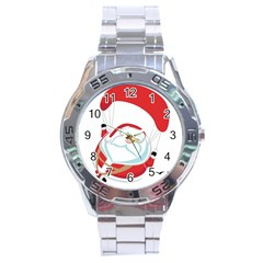 Skydiving Christmas Santa Claus Stainless Steel Analogue Watch by Alisyart