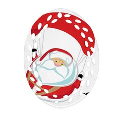 Skydiving Christmas Santa Claus Oval Filigree Ornament (two Sides)