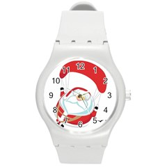 Skydiving Christmas Santa Claus Round Plastic Sport Watch (m) by Alisyart