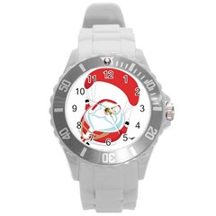 Skydiving Christmas Santa Claus Round Plastic Sport Watch (l)