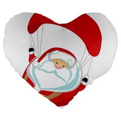 Skydiving Christmas Santa Claus Large 19  Premium Heart Shape Cushions