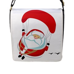 Skydiving Christmas Santa Claus Flap Messenger Bag (l)