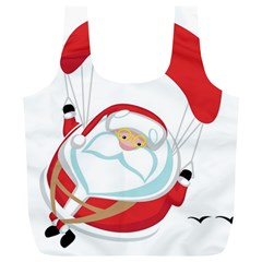 Skydiving Christmas Santa Claus Full Print Recycle Bags (l)  by Alisyart