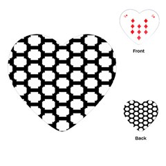 Tile Pattern Black White Playing Cards (heart)