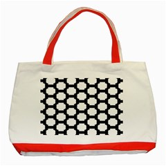 Tile Pattern Black White Classic Tote Bag (red) by Alisyart
