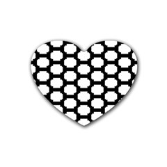 Tile Pattern Black White Rubber Coaster (heart)
