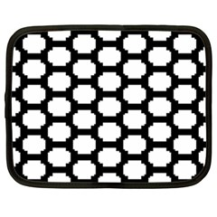Tile Pattern Black White Netbook Case (xxl)