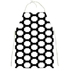 Tile Pattern Black White Full Print Aprons