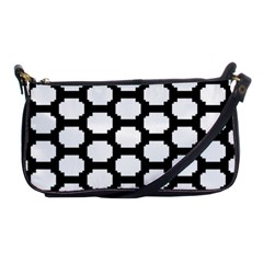 Tile Pattern Black White Shoulder Clutch Bags by Alisyart