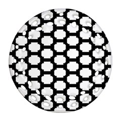 Tile Pattern Black White Round Filigree Ornament (two Sides)