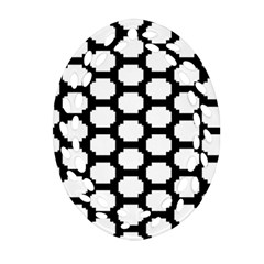 Tile Pattern Black White Oval Filigree Ornament (two Sides) by Alisyart